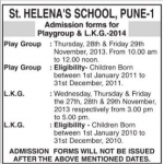 St Helenas School Admission Date Pune