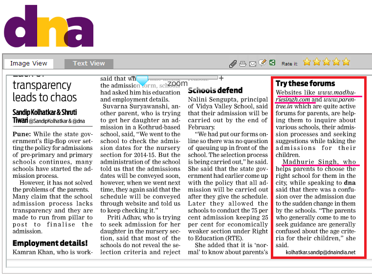 Madhurie Singh's quote in DNA 4th Feb 2014, School News